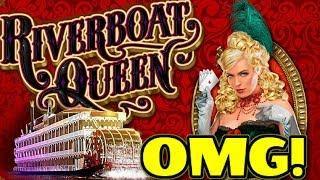 HOLY RETRIGGER!!  Never-ending Bonus on RIVERBOAT QUEEN Slot Machine!