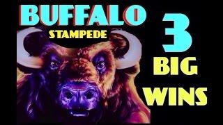 BUFFALO STAMPEDE slot machine HUGE WINS (3 big Wins in 40 Minutes)