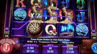 Trojan Treasure Slot Machine Bonus - 8 Free Games Win with Locking Wilds + Multipliers (#1)