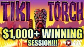 •AMAZING $1,000 + WINNING RUN!!!• TIKI TORCH (Aristocrat) MAX BET! BIG WIN! Slot Machine Bonus