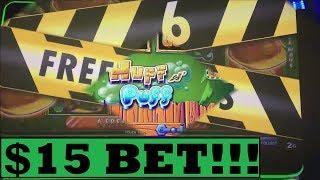 $15 BONUS BIG WIN on HUFF N PUFF HIGH LIMIT SLOT MACHINE!