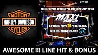 BIG WIN! MAXI FREE GAMES ON HARLEY DAVISON SLOT MACHINE