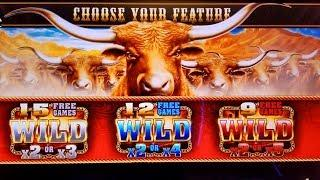 Longhorn Deluxe Slot Machine Bonuses Won  w/RETRIGGERS ! Slot Machine Pokies (Aristocrat)