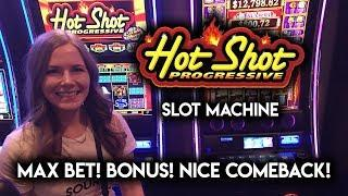 HOTSHOT! Progressive Slot Machine! Max Bet CASH Wheel Bonus! Down to the wire Again!