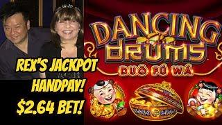 JACKPOT HANDPAY! $2.64 BET-REX HAS DANCING DRUMS!