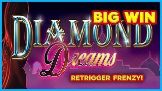 RETRIGGER FRENZY! Quad Shot Diamond Dreams Slot - BIG WIN BONUS!