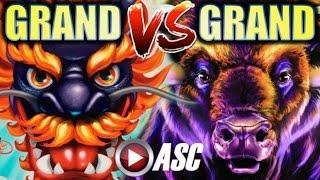 •BIG WIN!!• NEW 5 DRAGONS GRAND VS. BUFFALO GRAND (Aristocrat) | Slot Machine Bonus