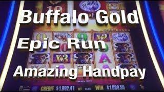 AMAZING RUN MASSIVE JACKPOT HANDPAY - BUFFALO GOLD SLOT MACHINE