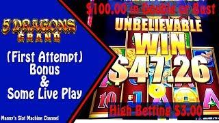 (First Attempt) 5 Dragons Grand by Aristocrat Bonus on a $3.00 bet at Barona Casino