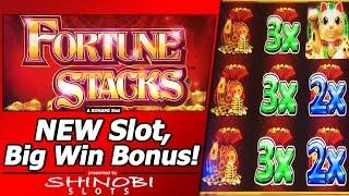 Fortune Stacks Slot - Live Play/Big Win Bonus, First Attempt at New Konami game