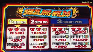 "High Limit Slot ""SIZZLING WILDS"" $5 Slot on Free Play & Black Diamond Slot, San Manuel. Akafuji slot"