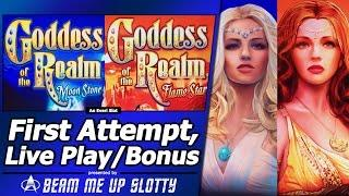 Goddess Of The Realm Moon Stone/Flame Star Slots - First Attempt, Live Play, Free Spins Bonuses
