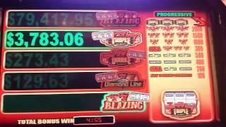 Bally's 2c Hotshots - NICE BONUS WIN - Blazing 7's Progressive Win