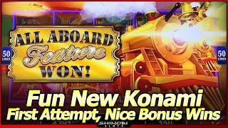 All Aboard! Slot - New Konami Dynamite Dash and Piggy Pennies, First Attempt, Big Win Bonus