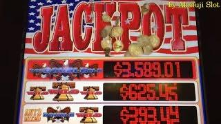 •JACKPOT Top Symbol•PATRIOT Dollar Slot  Max Bet $5  EVERI 5 Lines Dollar slot at Barona Casino
