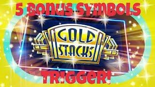 **GOLD STACKS** 5 Bonus Symbols Trigger!!