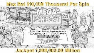 •Million Dollar Cashout Max Bet $10,000 Thousand 2 Bonus Trigger Jackpot Handpay Casino Video Slot •