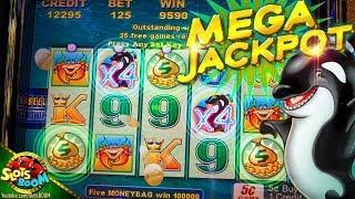 MEGA JACKPOT RE-TRIGGER !!! Whales of Cash 5c Aristocrat Video Slot in San Manuel Casino