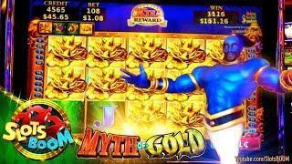 MYTH of GOLD !!! BONUSES !!!  NEW KONAMI Video Slot in San Manuel Casino