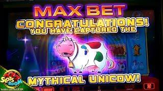MAX BET UNICOW !!!! Handpay Jackpot Bonus !!! Invaders Return from the Planet Moolah 1c WMS Slot