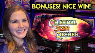 Lots Of BONUSES! Can I Get Those Awesome Multiplier Wilds? Celestial Sun Riches Slot Machine!