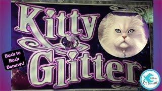 Kitty Glitter Slot Machine - TBT - Back to Back Bonuses - Big Win!