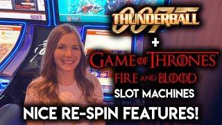 Game of Thrones Fire and Blood VS James Bond Thunderball Slot Machines! Dragons and Chip Re-Spins!!