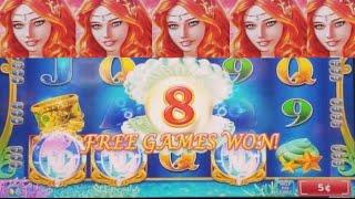 Secret Of The Mermaid Slot Machine BONUSES Won w/Re-Triggers ! Live KONAMI Slot Play