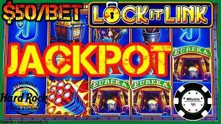 •HIGH LIMIT Lock It Link Eureka Reel Blast JACKPOT HANDPAY •$50 BONUS ROUND Slot Machine HARD ROCK