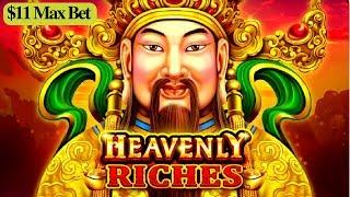 •$11 MAX BET• Heavenly Riches Slot Machine Bonus Won ! Live Slot Play    GREAT SESSION