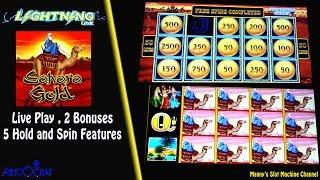 Lightning Link ( Sahara Gold ) Live Play , 2 Bonuses and 5 Hold Spins