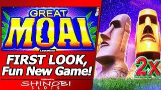 Great Moai Slot - First Look, Fun New Konami Game, Live Play and Free Spins Bonuses
