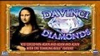 Davinci Diamonds Slot Machine-Live Play-$20 Bet-Double or Nothing