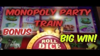 MONOPOLY PARTY TRAIN SLOT BONUS BIG WIN!! Council Bluffs, IA