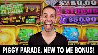 • NEW Piggy Parade Slot Machine • Got The Bonus!