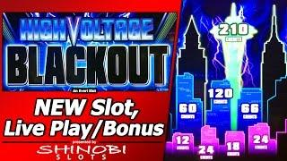 High Voltage Blackout Slot - First Attempt with Live Play, Line Hits, Re-Spins and Picking Feature
