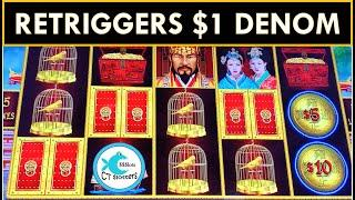 RETRIGGERS! SO MANY SPINS! HOW MUCH DID I WIN ON $5 BET DOLLAR STORM SLOT MACHINE? WHALES OF CASH!