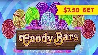 Candy Bars Slot - BIG WIN PROGRESSIVE - $7.50 Max Bet!