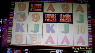 Red Lions Bonus Win with 2 Retriggers Penny Slot at Sands