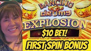 OMG! FIRST SPIN-$10 BET-4 DANCING DRUMS EXPLOSION BONUS!