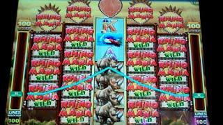 Rampaging Rhino Slot Machine Bonus - 8 Free Games with Wild Reels + Multipliers - NICE WIN