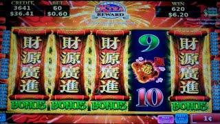 Imperial Wealth Slot Machine Bonus + Nice Line Hit - 18 Free Games Win with Nudging Wilds