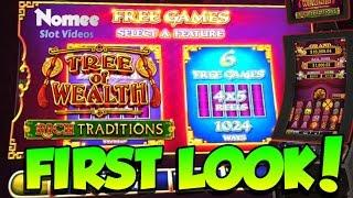 """FIRST LOOK! - Tree of Wealth """"Rich Traditions"""" Slot Machine - Long Play with Bonuses"""