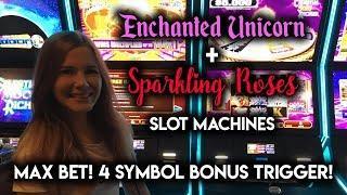 MAX BET BONUSES! on Sparkling Roses Slot Machine! 4 BONUS Symbols!