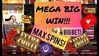 Big Bet Max Spins!! Mega Big Win From Extra Chilli!!