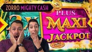 HUGE MAXI Jackpot Win Zorro Mighty Cash during FREE GAMES
