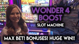 EPIC FULL SCREEN WIN on the New Wonder 4 Boost! Rhino Charge Slot Machine!!!