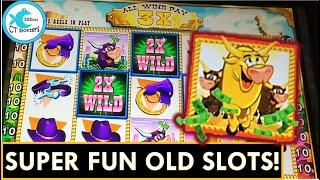 OLD SLOTS RULE! FLASHBACK FRIDAY WMS SLOTS! DOUBLE STAMPEDE! CRAZY RETRIGGER ON GIANT'S GOLD!