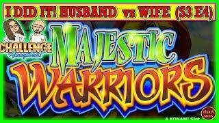 I DID IT! HUSBAND vs WIFE CHALLENGE TURNING $1000 FREE PLAY INTO PROFIT MAJESTIC WARRIORS ( S3 Ep4 )