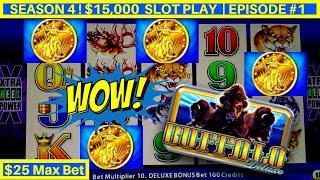 High Limit BUFFALO DELUXE Slot $25 Max Bet Bonus   Season 4   EPISODE #1
